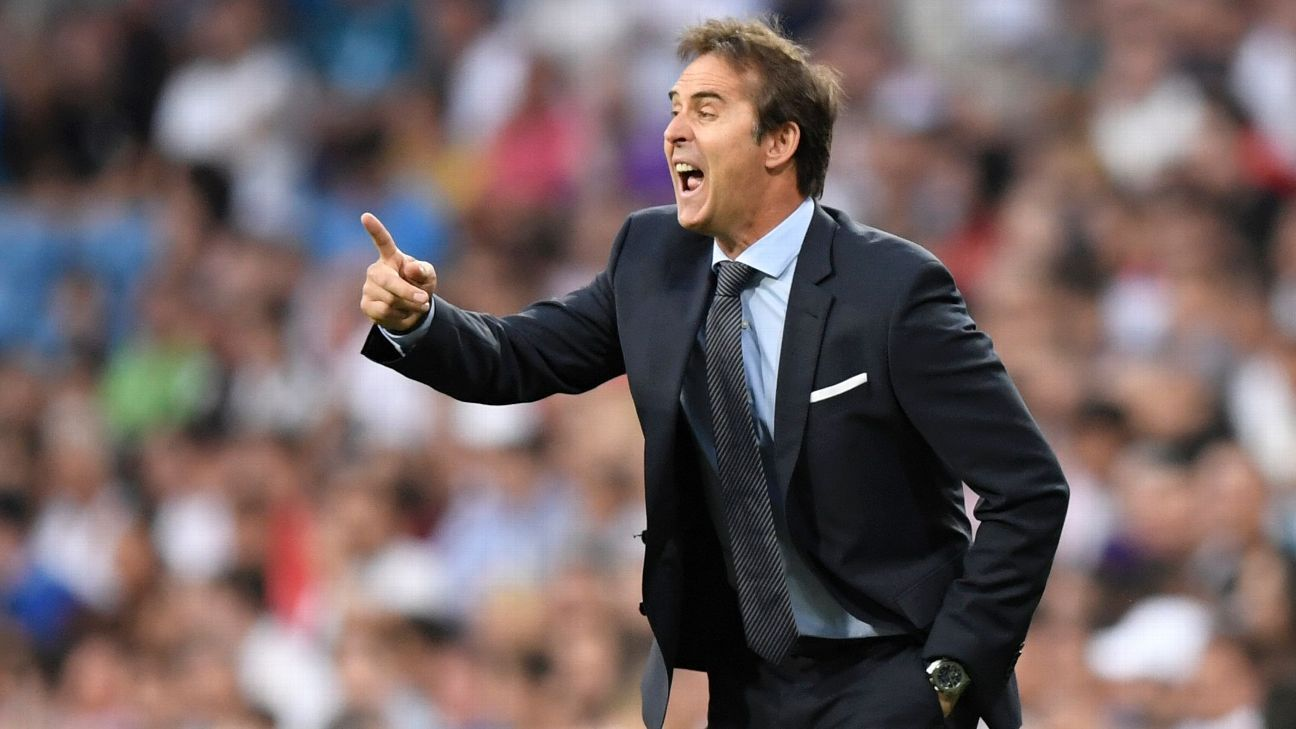 Real Madrid's Julen Lopetegui during the friendly against AC Milan.