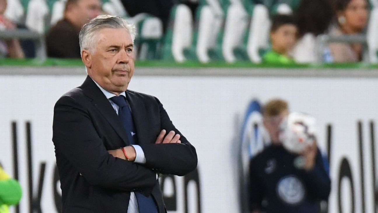 Napoli coach Carlo Ancelotti during the friendly against Wolfsburg.