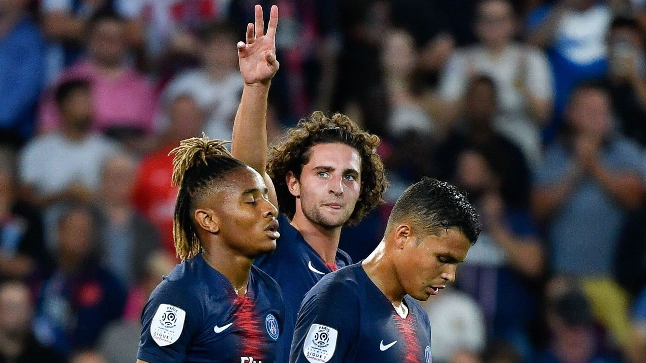 Adrie Rabiot scored in PSG's Ligue 1 opener.