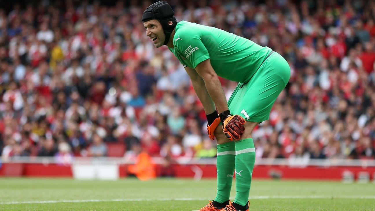 Petr Cech endured a difficult afternoon as Arsenal lost their Premier League opener against Manchester City.