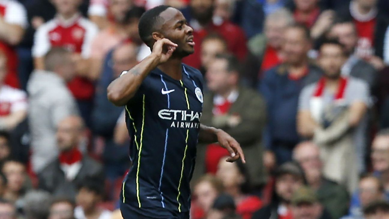 Raheem Sterling scored Manchester City's first Premier League goal of the season at Arsenal