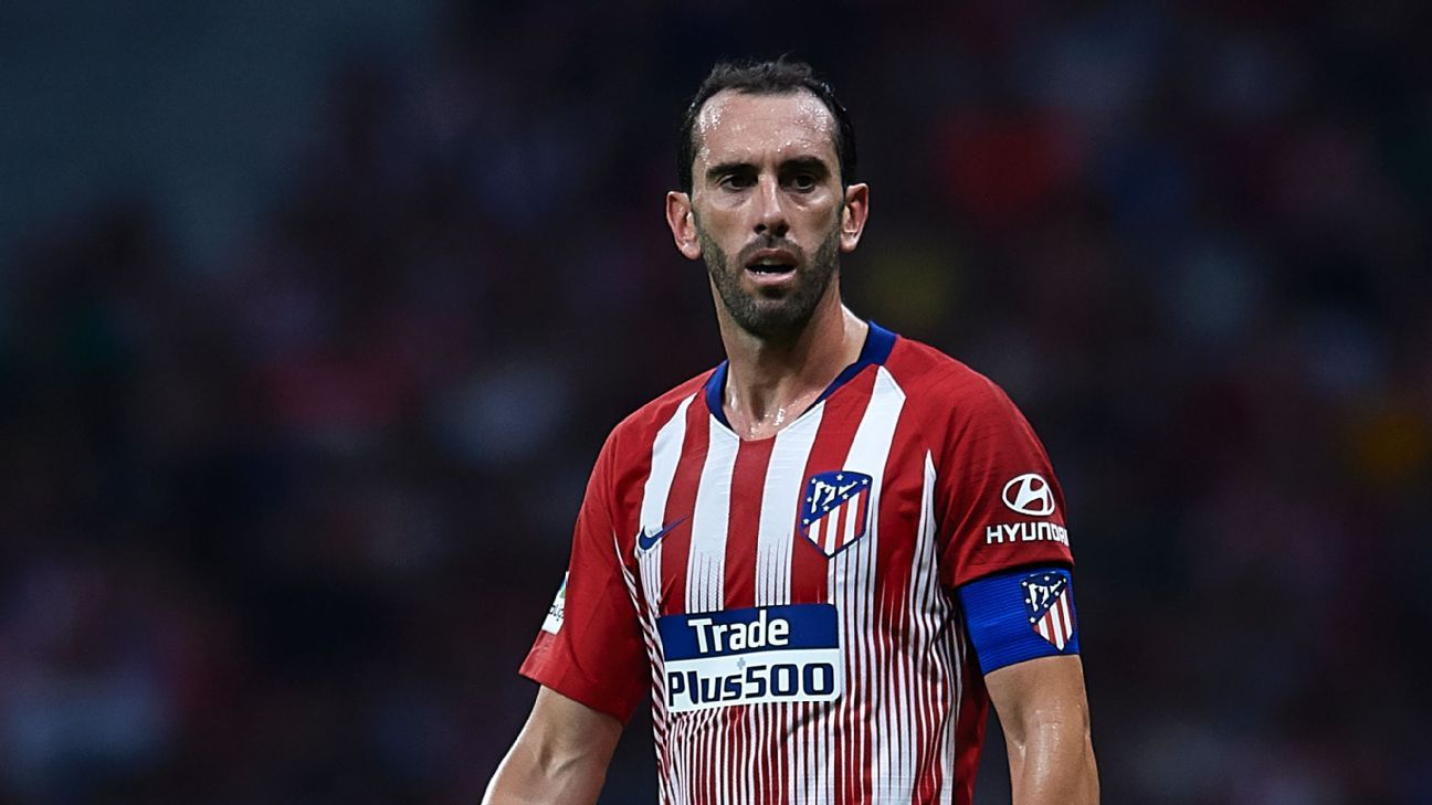 Atletico Madrid's Diego Godin during a friendly against Inter Milan.