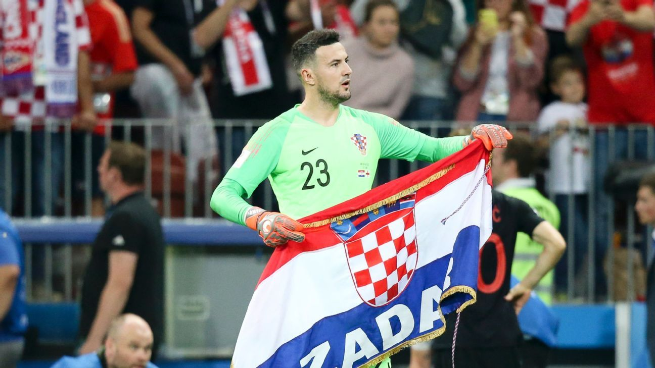 Danijel Subasic celebrates Croatia's victory over England in the World Cup semifinals.