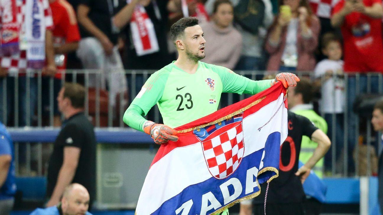 Danijel Subasic celebrates Croatia's victory over England in the World Cup semifinals.