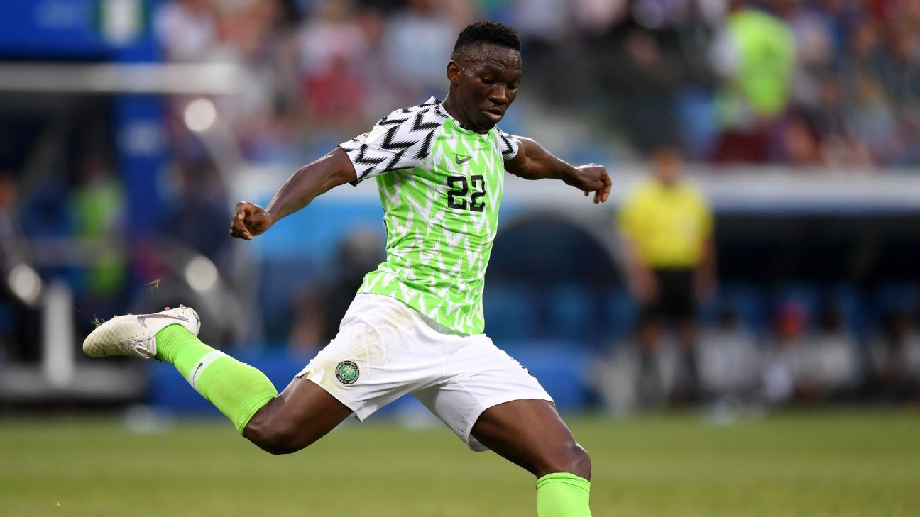 Kenneth Omeruo playing for Nigeria in their  2018 FIFA World Cup match against Iceland