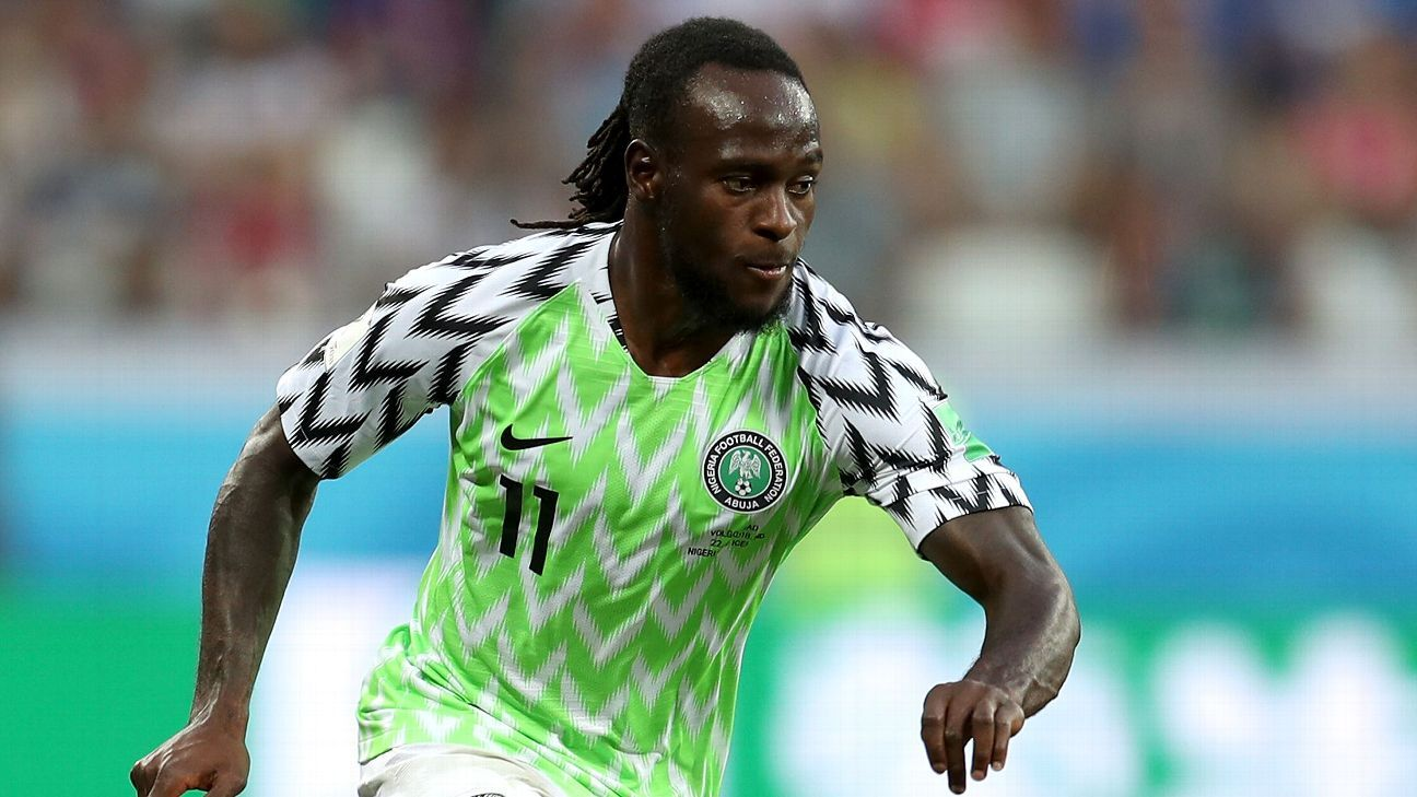 Nigeria's Victor Moses in action during a FIFA World Cup match against Iceland
