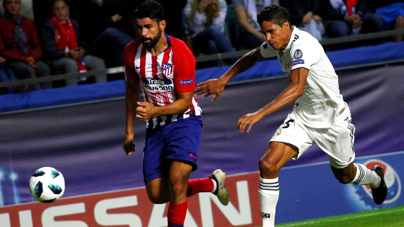 Raphael Varane and the Real defense struggled to contain Diego Costa.