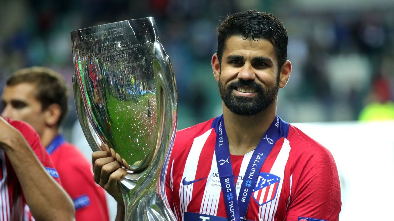 Diego Costa scored twice in Atletico Madrid's UEFA Super Cup win against Real Madrid.