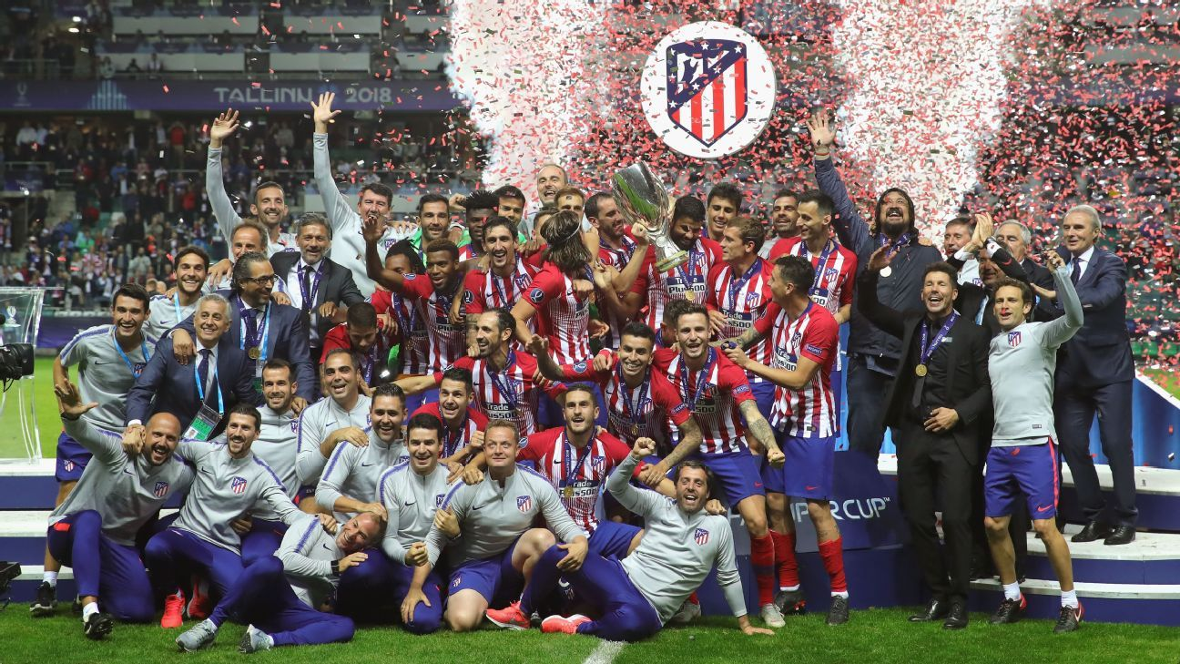 Atletico Madrid celebrate winning the UEFA Super Cup.