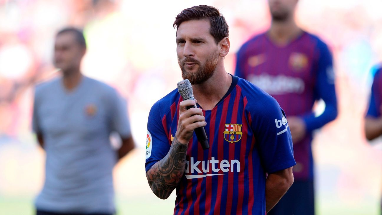 Lionel Messi addressed Barcelona fans as club captain for the first time before the Joan Gamper Trophy match