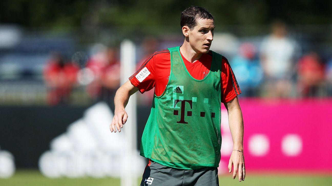Bayern Munich's Sebastian Rudy during a training session.