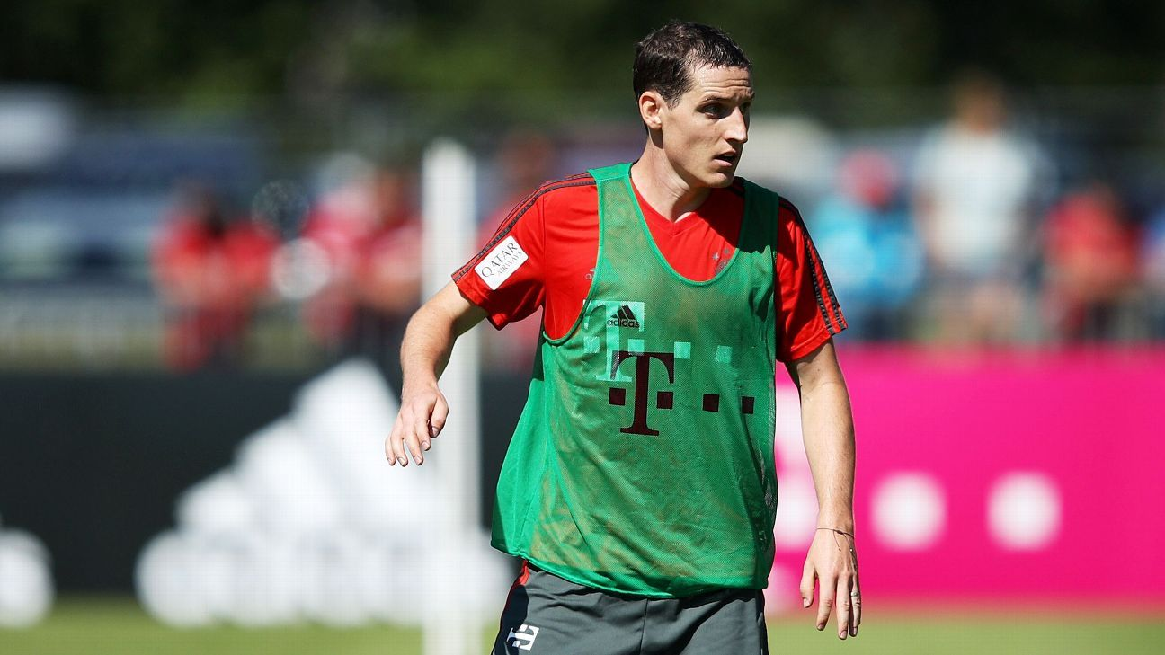 Bayern Munich's Sebastian Rudy during a training session.