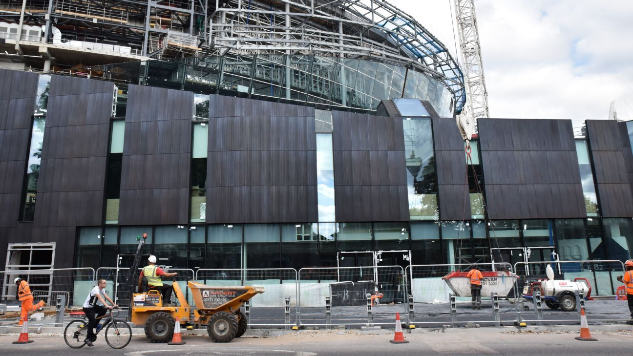 Construction continues at the new Tottenham Hotspur Stadium in London.