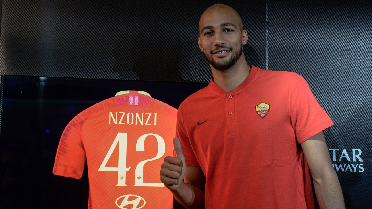 Roma's Steven Nzonzi after his introductory news conference.
