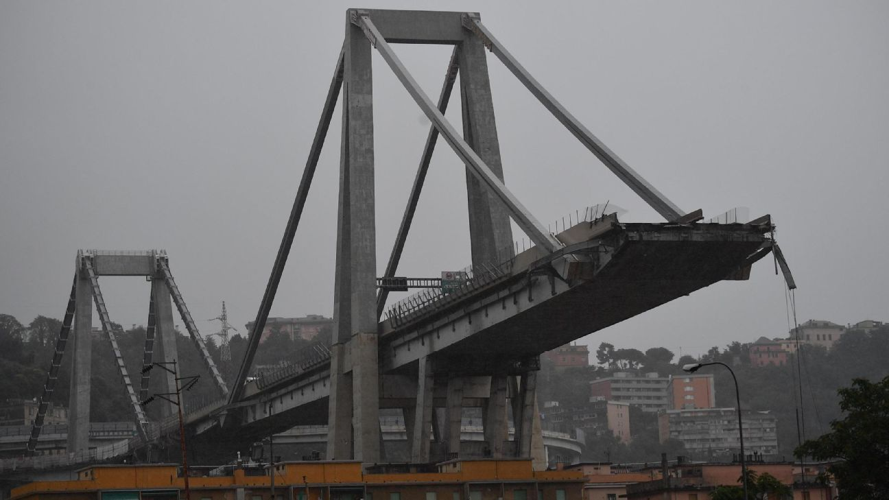 A large section of the Morandi bridge in the Italian city of Genoa collapsed on Tuesday, sending cars and trucks crashing below and killing dozens of people.