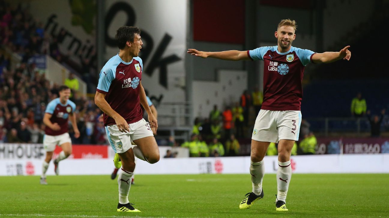 Jack Cork, left, celebrates after scoring a goal for Burnley against Istanbul Basaksehir.