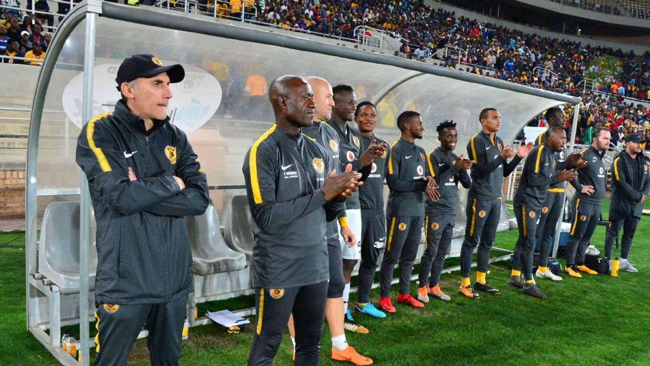 The Kaizer Chiefs bench looks on during a PSL match against Baroka FC