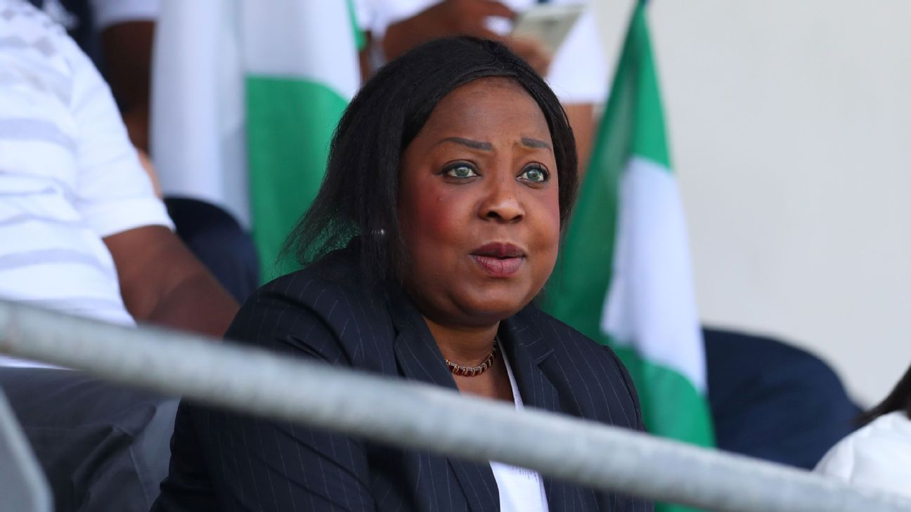 FIFA Secretary General Fatma Samoura watches a Nigeria match from the stands