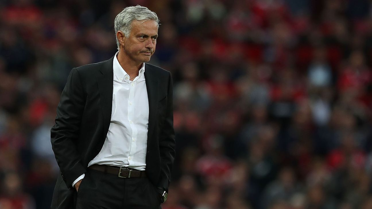 Jose Mourinho looks on during Manchester United's win against Leicester City.