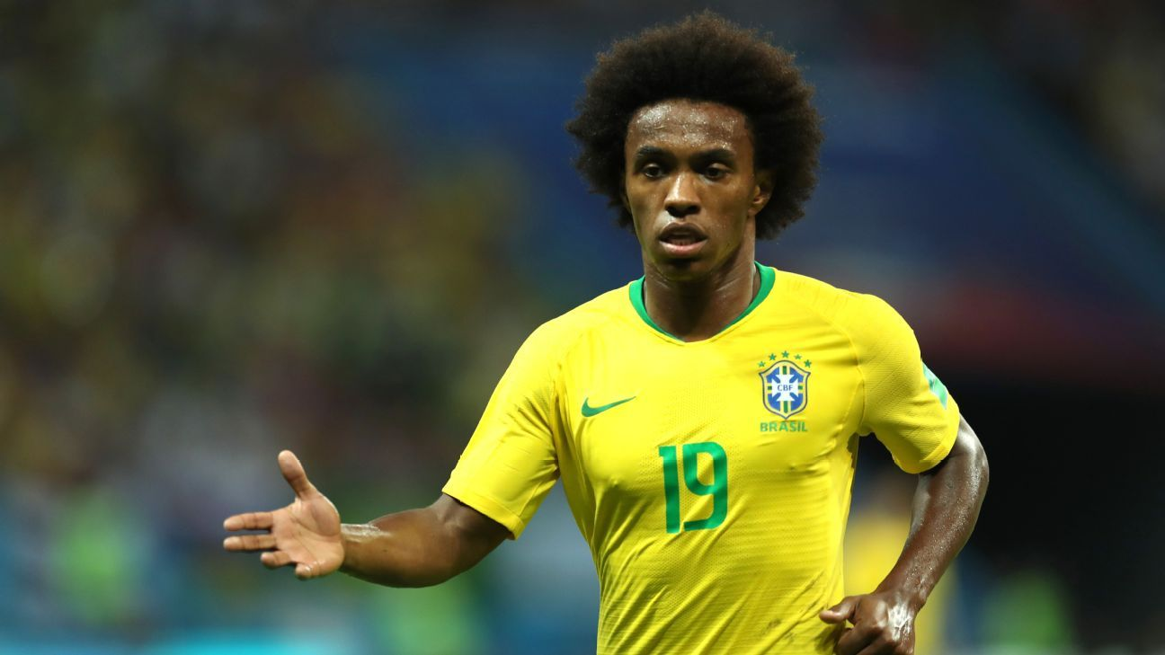 Willian looks on during Brazil's World Cup quarterfinal defeat to Belgium.
