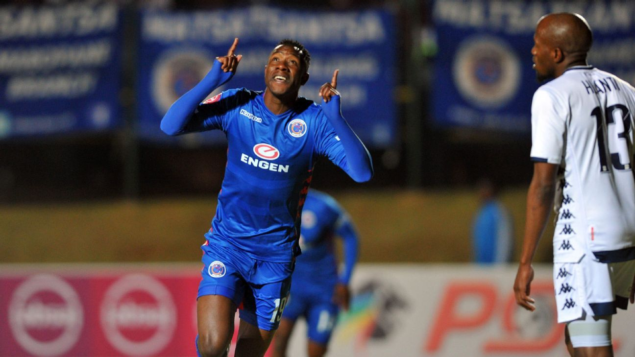 Evans Rusike of SuperSport United celebrates scoring against Bidvest Wits