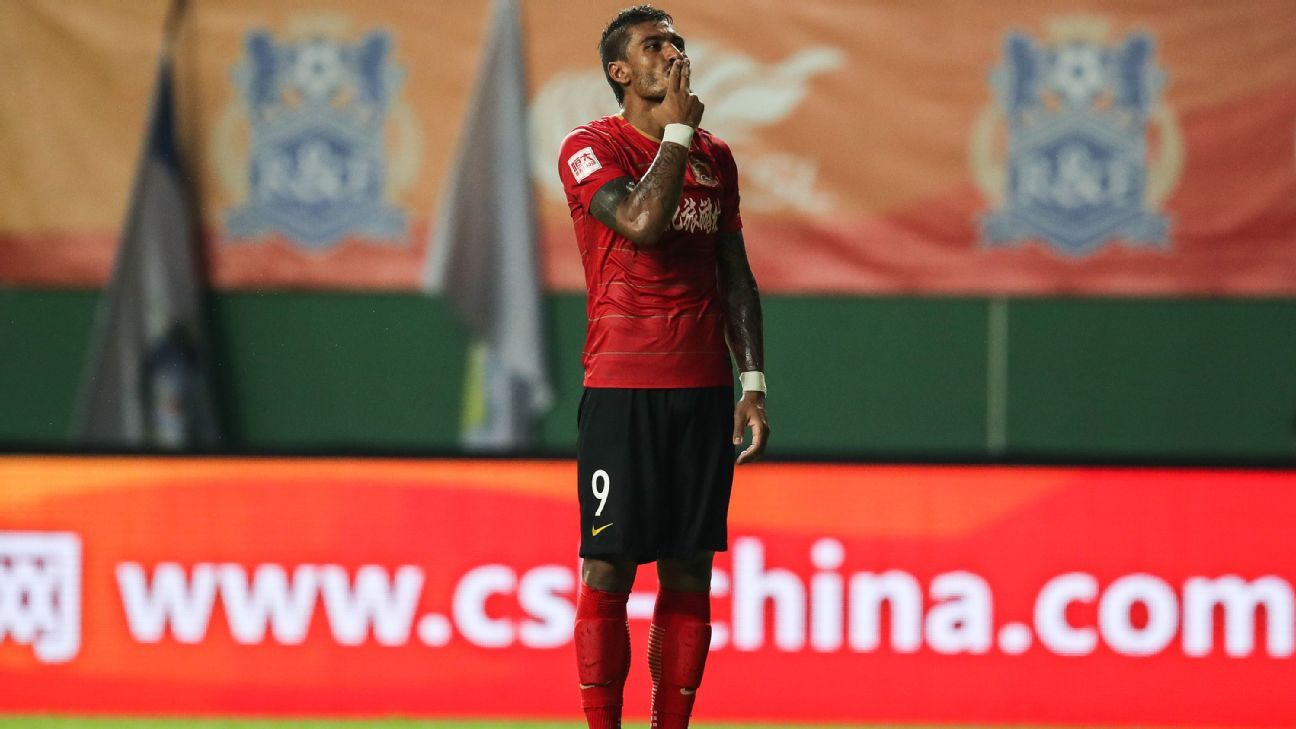 Paulinho scored twice in his 100th Chinese Super League game.