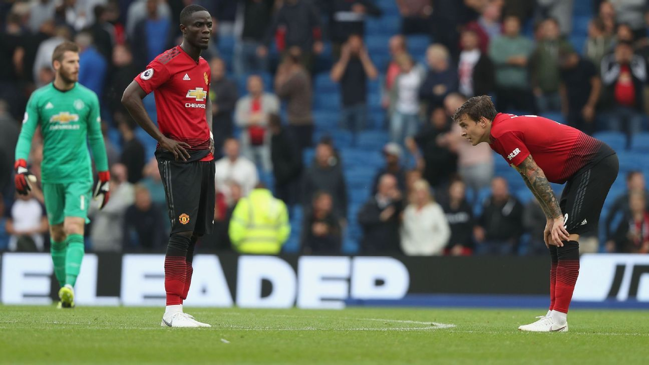 Manchester United's defence endured a torrid day at Brighton.