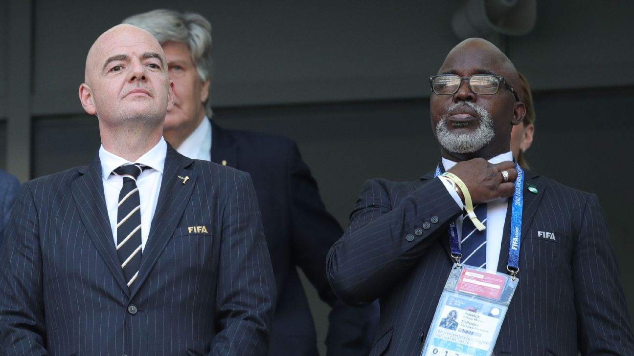 Amaju Pinnick with FIFA president Gianni Infantino during the 2018 World Cup