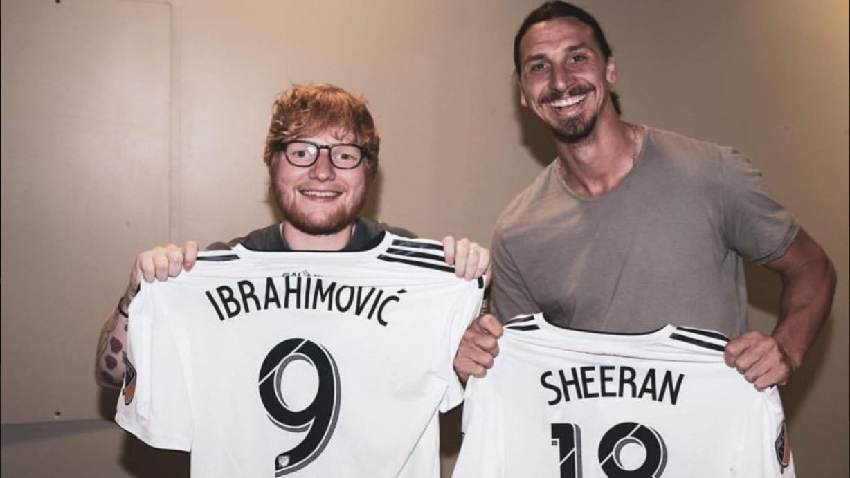 Zlatan Ibrahimovic meets Ed Sheeran
