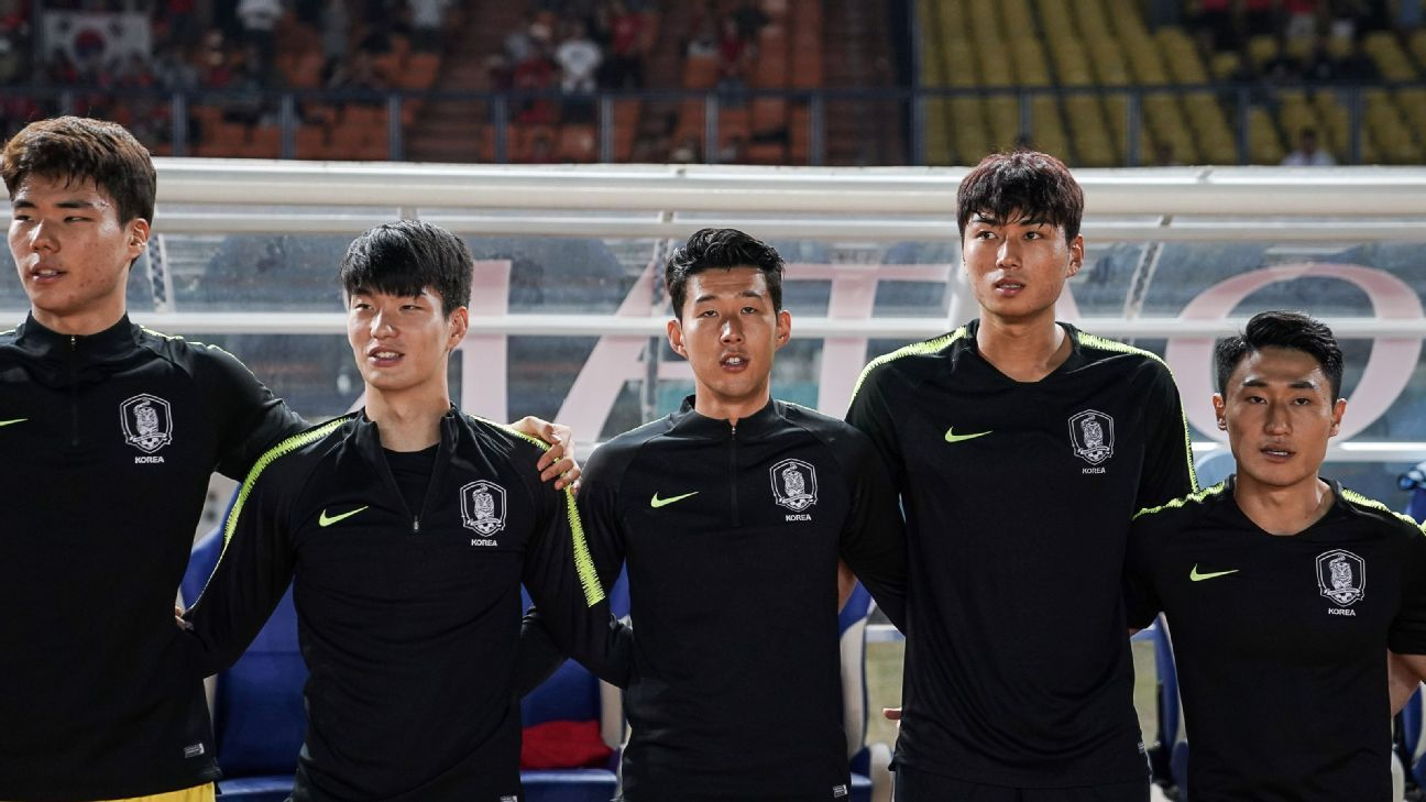Son Heung-min at the Asian Games with South Korea.