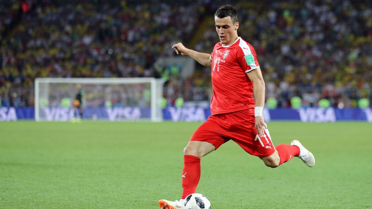 Filip Kostic of Serbia in action during the 2018 FIFA World Cup.