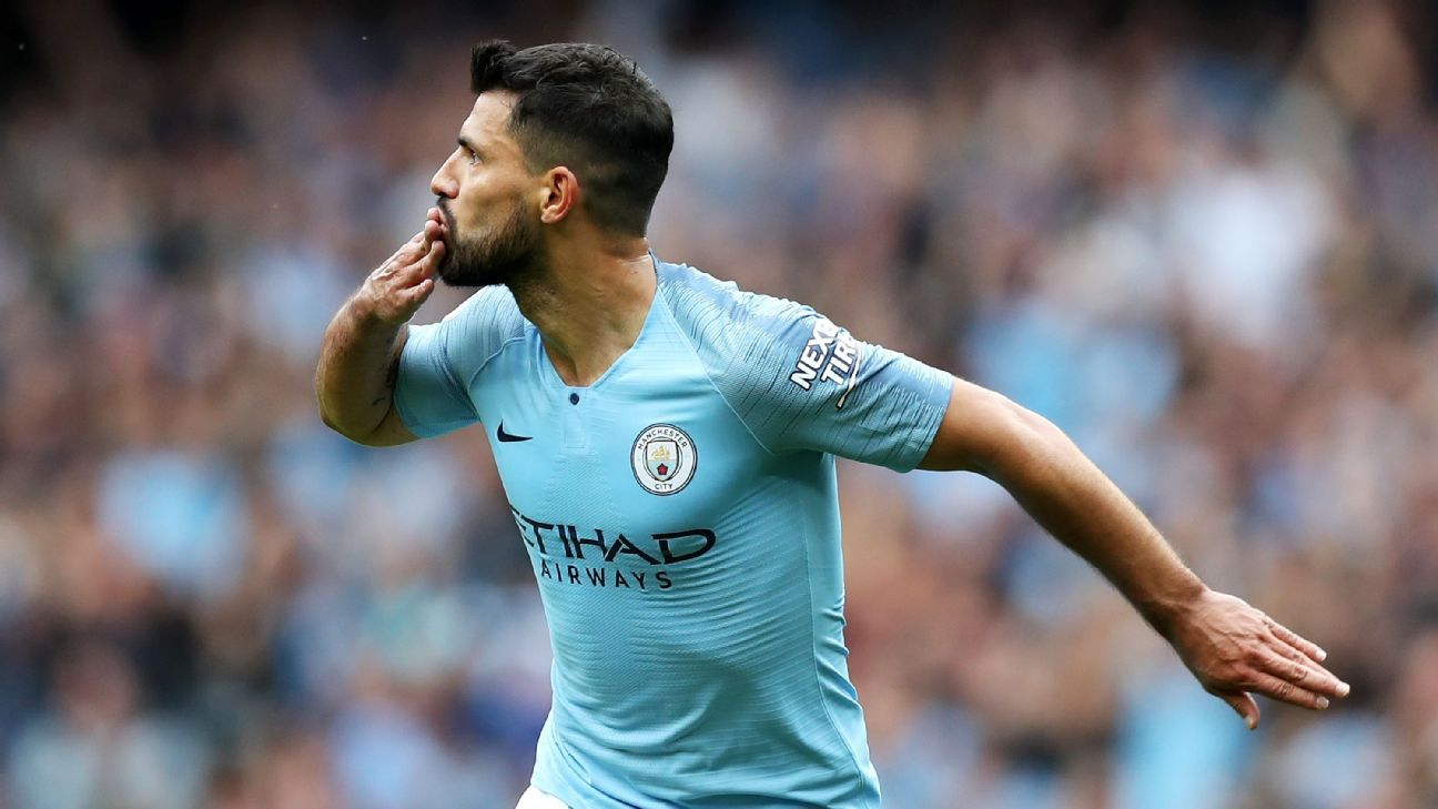 Sergio Aguero celebrates scoring during Manchester City's Premier League win over Huddersfield.