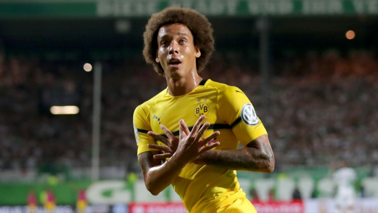 Axel Witsel celebrates after scoring a goal for Dortmund in a 2-1 DFB Pokal win against Greuther Fuerth.