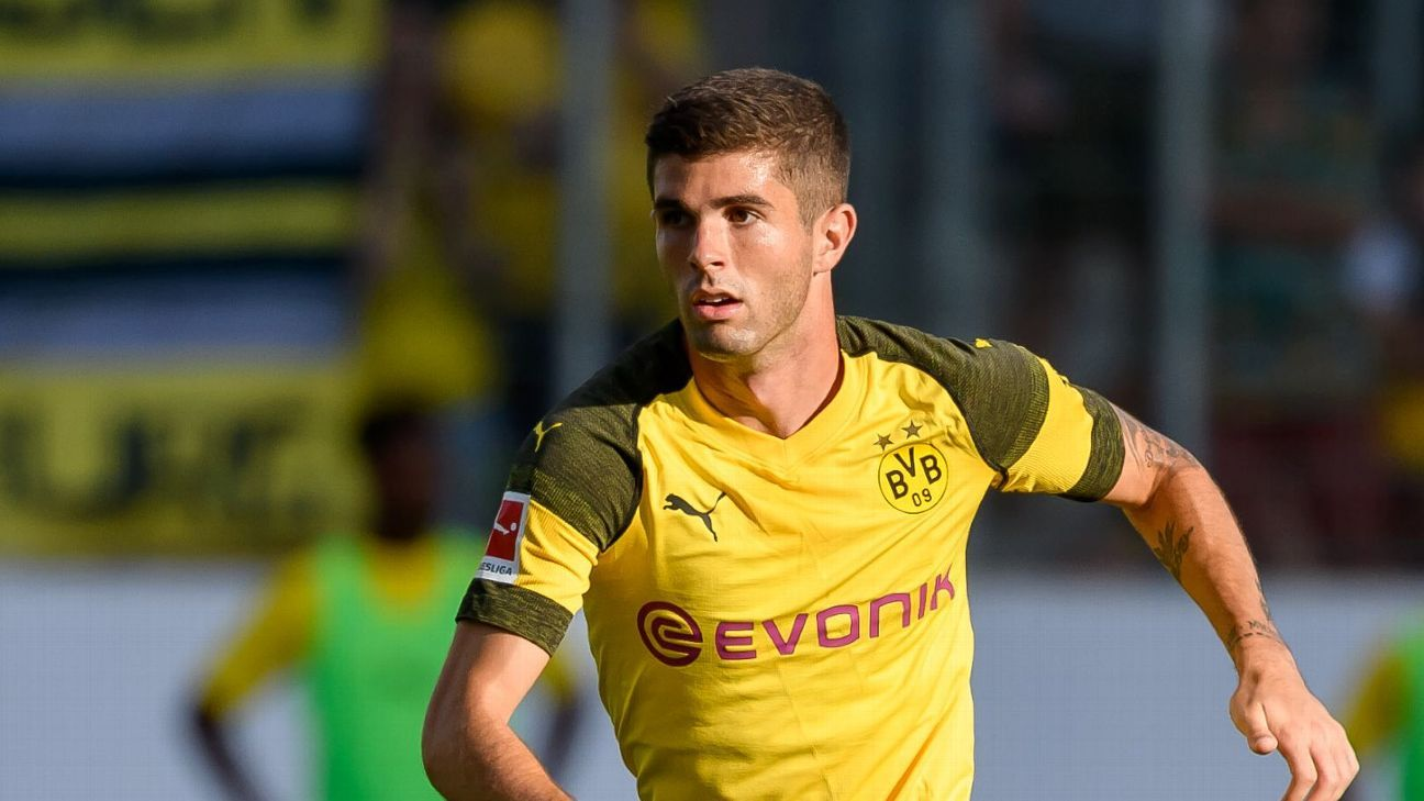 Borussia Dortmund's Christian Pulisic during the friendly against Lazio.