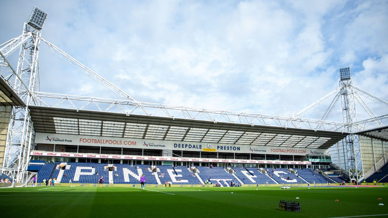 Deepdale in Preston, England, before Preston North End's Championship game against Stoke City.