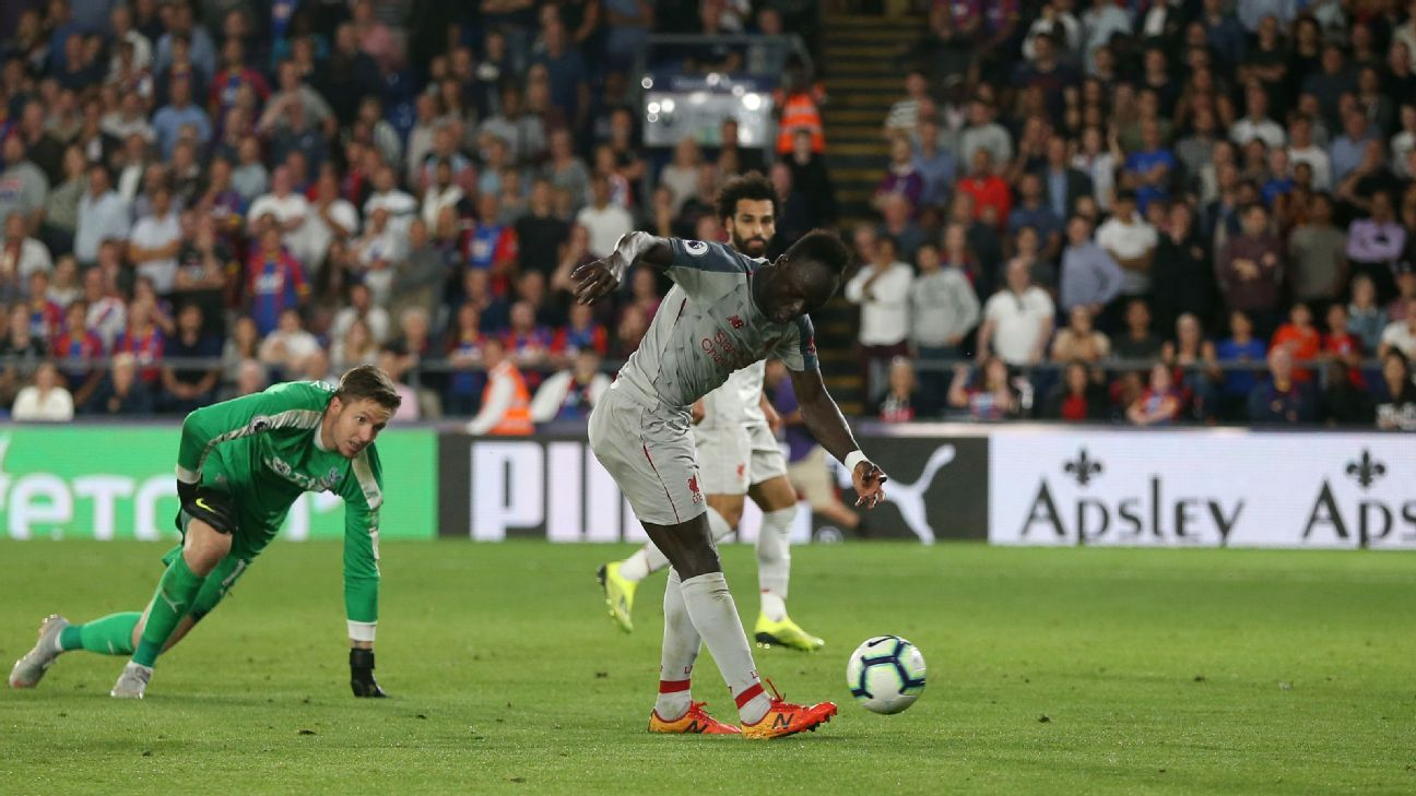 Sadio Mane took a pass from Mohamed Salah to complete a swift counter-attack for Liverpool at Crystal Palace.