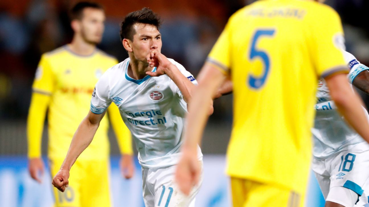 Hirving Lozano has three goals so far for PSV Eindhoven in all competitions, including one on Tuesday in a Champions League playoff match.
