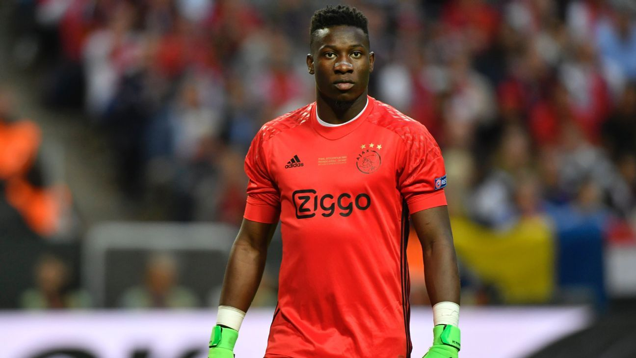 Andre Onana of Ajax in action