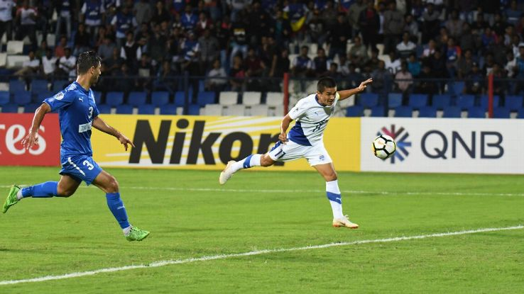Sunil Chhetri in action against Altyn Asyr