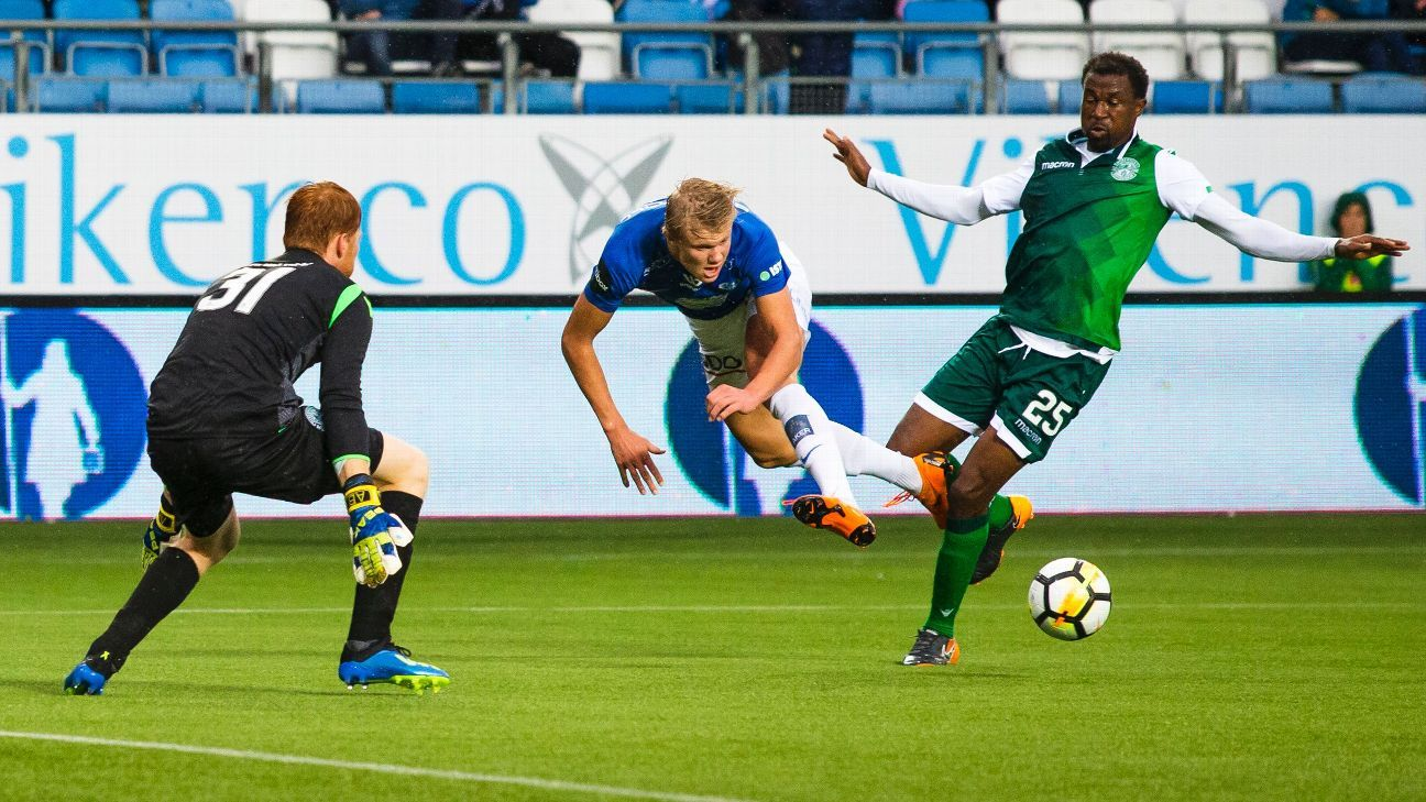 Erling Haaland helped Molde eliminate Hibernian from the Europa League.