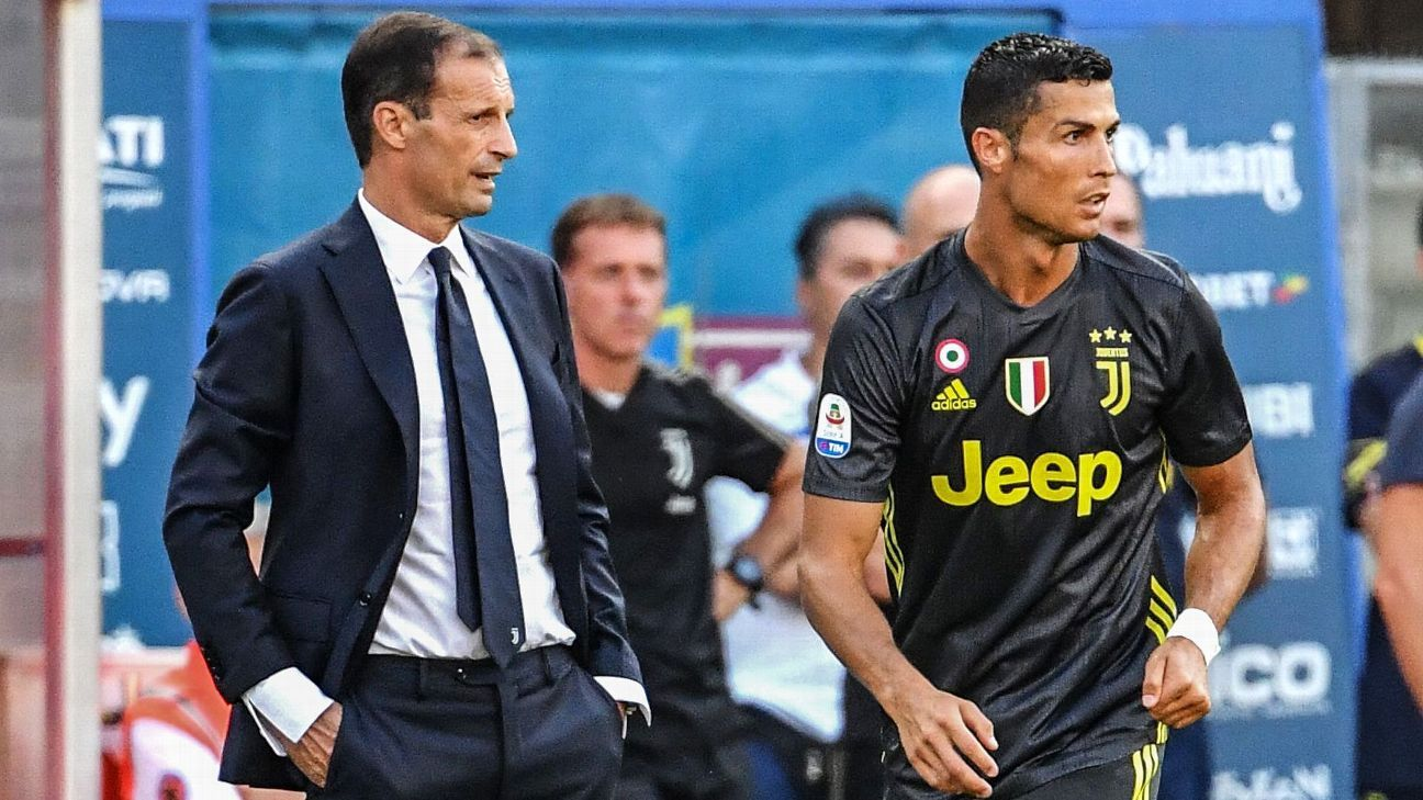 Max Allegri, left, has plenty of options when it comes to getting the best out of Cristiano Ronaldo, right.
