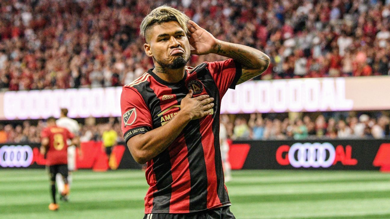 Josef Martinez celebrates after scoring in Atlanta United's MLS match vs. Orlando City.