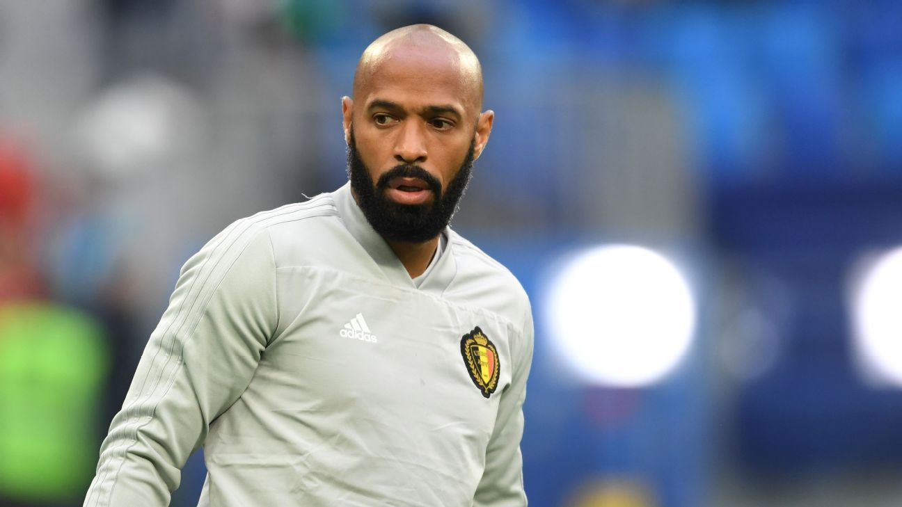 Thierry Henry during the World Cup semifinal between Belgium and France.