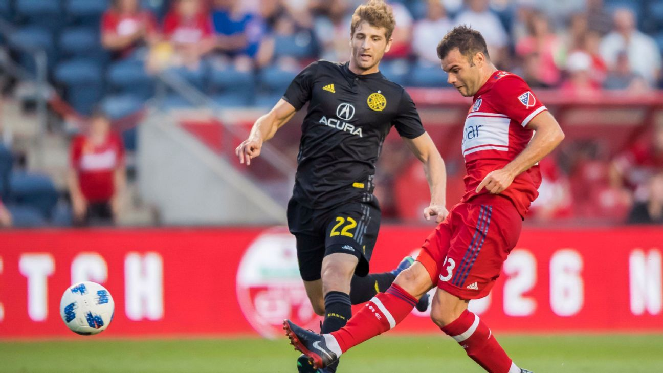 Chicago Fire forward Nemanja Nikolic scores his goal in a 1-1 draw against Columbus Crew SC.