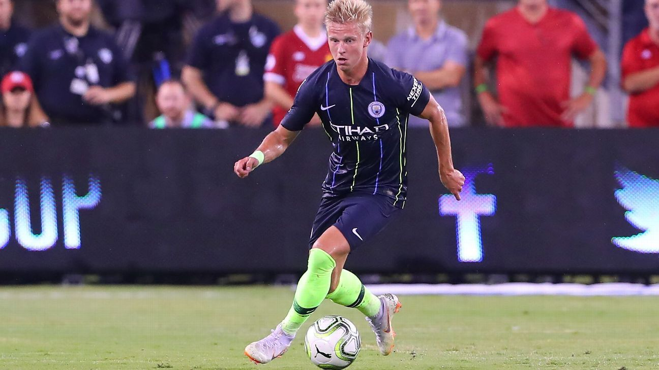 Manchester City's Oleksandr Zinchenko during a preseason game against Liverpool.