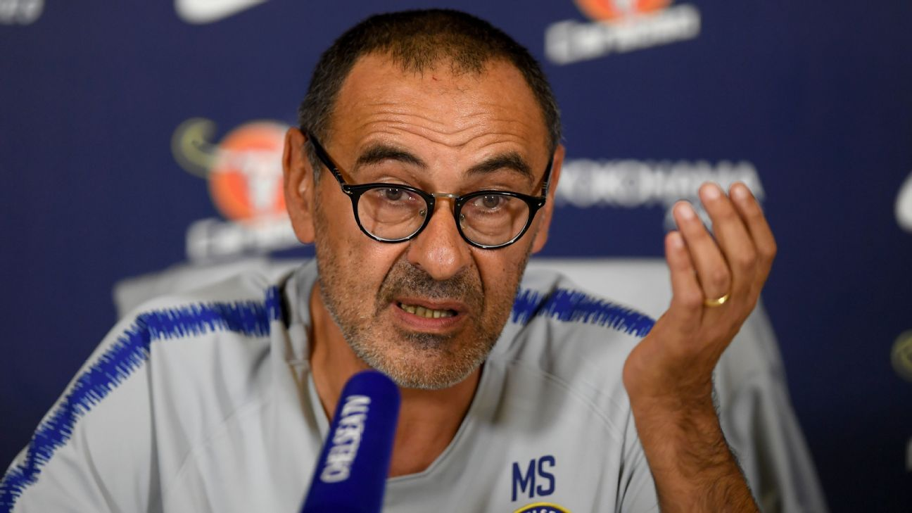 Maurizio Sarri of Chelsea faces the press on Friday.