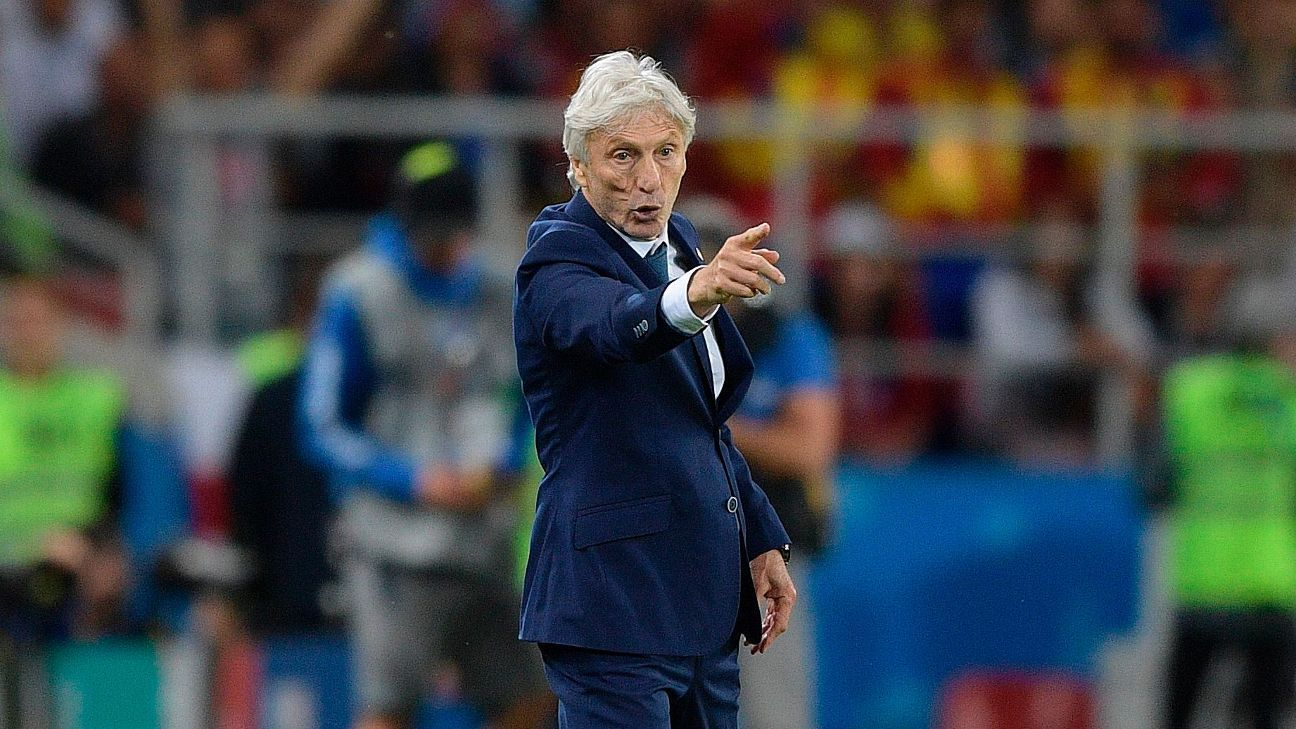 Colombia coach Jose Pekerman during the World Cup game against England.