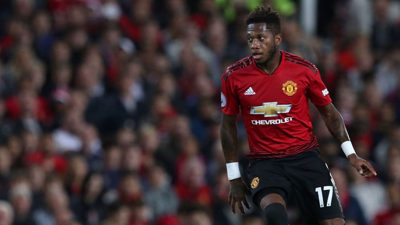 Manchester United's Fred during a Premier League game against Leicester City.