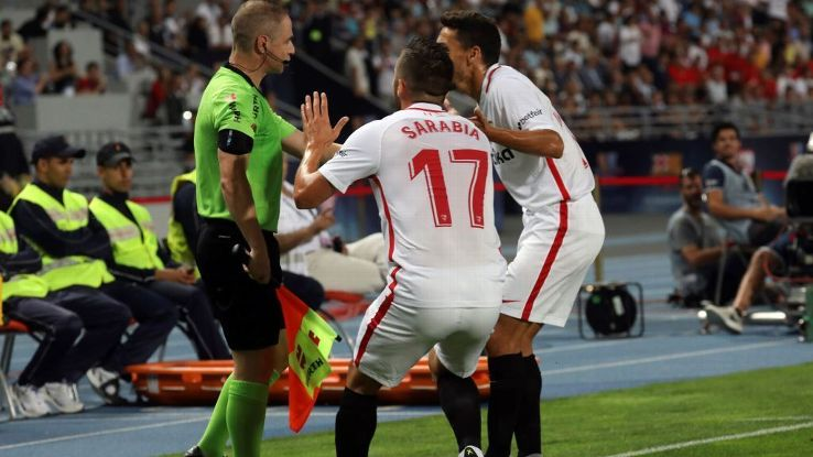 Sarabia, centre, will be remembered as the player to score the first VAR goal in Spanish football.