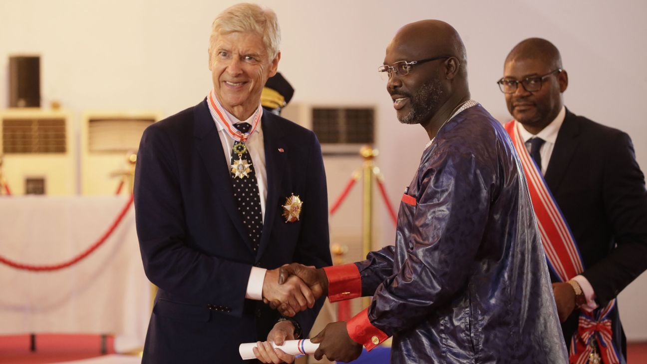 Arsene Wenger is awarded the Order of Distinction and  Knight Grand Commander of the Humane Order of African Redemption by Liberia President George Weah.